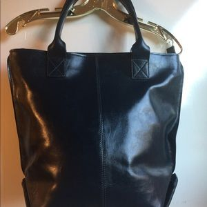 PULICATI MADE IN ITALY NAVY LEATHER TOTE BAG